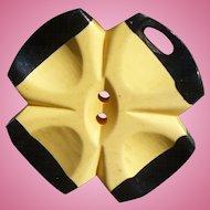 Black Cream Bakelite Flower Button