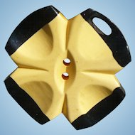 Black Cream Bakelite Flower Button