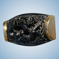 Deep Carved Bakelite Brass Pin
