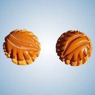 Cast Carved Bakelite Earrings
