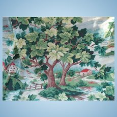 Green Leafy Barkcloth Panel
