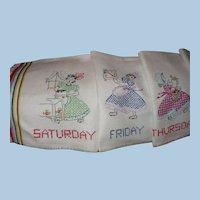 Gingham Girl Days of Week Towels