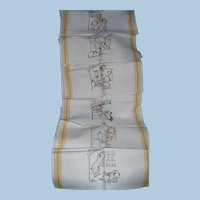 Six Embroidered Days of Week Towels Dogs