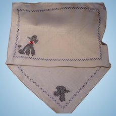 Embroidered Poodle Placemat & Napkin