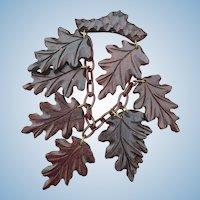 Carved Wood Dangle Leaf Pin
