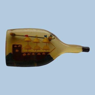Ship Bottle Bakelite Pin
