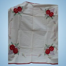 Embroidered Applique Fruit Tablecloth