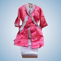 Satin Lounging Suit Pink & Blue by Paulette