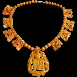 Bakelite Figural Beaded Necklace
