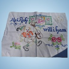 German Embroidered Pillow Cover