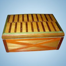 Wood Inlay Box Folk Art