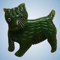Bakelite Movable Green Dog Pin
