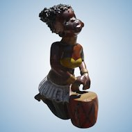 Black Americana Tribal Drummer Figurine