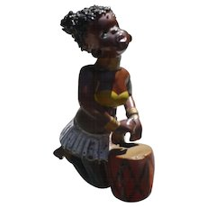 Black Americana Tribal Drummer Figurine