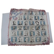 1950's Presidents Handkerchief - Red Tag Sale Item