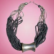 Brutalist  Bead Silvertone Necklace
