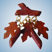 Bakelite Autumn Leaves & Logs Pin