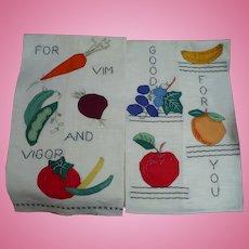Fruit Vegetable Applique Towels