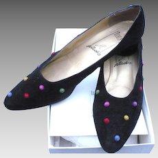 Black Suede Dot Shoes