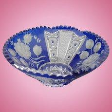 Bohemian Blue Cut Crystal Bowl
