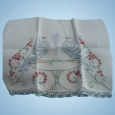 Lovebirds Embroidered towel
