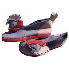 Child's Felt Slippers Roosters
