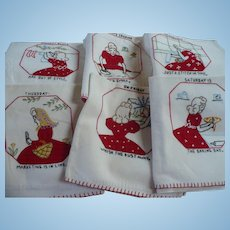Six Applique Embroidered Towels