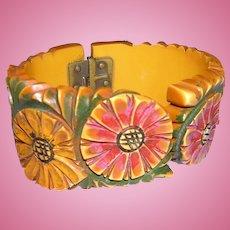 Bakelite Folk Art Carved Painted Bracelet
