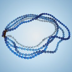 Shaded Blue Crystal Necklace