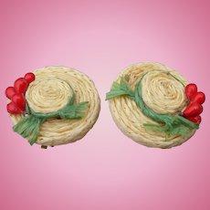 Straw Hat Earrings