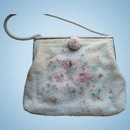 White Floral Beaded Purse