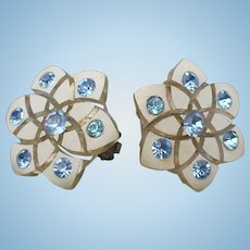 Celluloid Blue Rhinestone Earrings