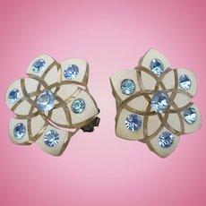 Celluloid Blue Rhinestone Earrings