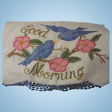 Hand Embroidered Huck Towel Good Morning