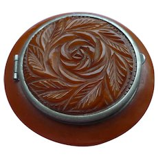 Carved Bakelite Compact