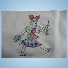 Embroidered Cleaning Lady Towel