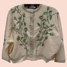 Hand Embroidered Cardigan Sweater