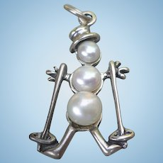 Sterling Skiing Snowman Charm