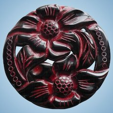 Carved Black Bakelite Floral Pin