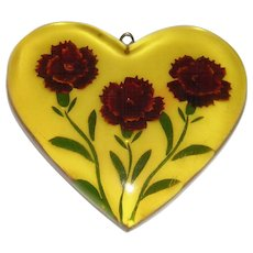 Reverse Carved Bakelite Heart