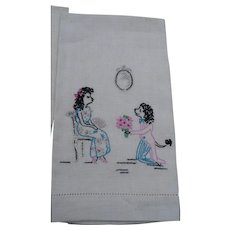 Poodle Proposal Towel Embroidered