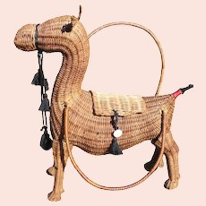Camel Wicker Purse