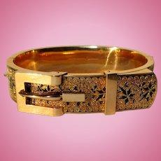 Victorian Buckle Bracelet, 14K, Black Tracery
