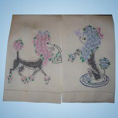 Embroidered Poodle Towels