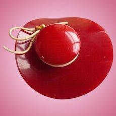 Red Bakelite Hat Pin