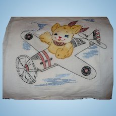 Embroidered Dog Airplane Pillow Top