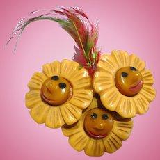 Bakelite Flower Faces Pin Martha Sleeper