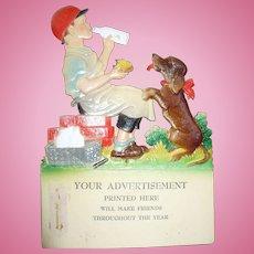 Die Cut Boy Dog Milk Advertisement