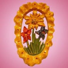 Carved Bakelite Floral Clip