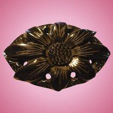 Black Carved Bakelite Floral Pin